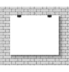 Poster mock up on the brick wall vector image
