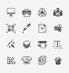 printing service isolated black icons vector image