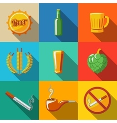 Pub beer flat long shadow icons set with - Glass vector image