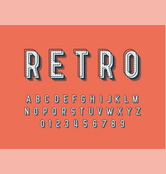 retro font and alphabet stock vector image
