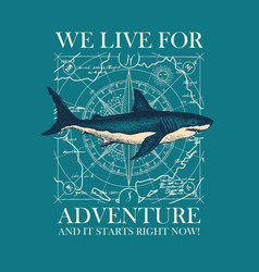 retro travel banner with shark and old map vector image