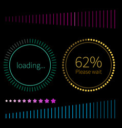 round and line progress bars loading vector image