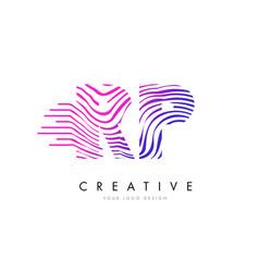 Rp r p zebra lines letter logo design with vector