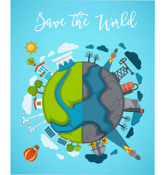 Save world agitation poster with globe divided in vector