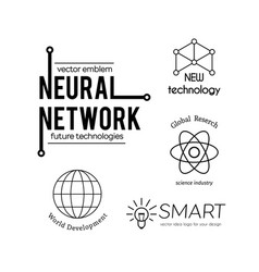 science and new technologies logo set vector image