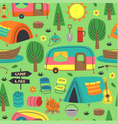 Seamless pattern with summer camping elements vector