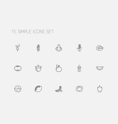 Set 15 editable vegetable outline icons vector