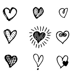 set hand drawn heart doodle hearts isolated on vector image