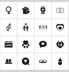 set of 16 editable love icons includes symbols vector image