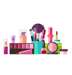 set of various cosmetic stuff vector image