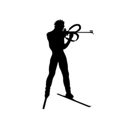 shooting from a standing position in biathlon vector image
