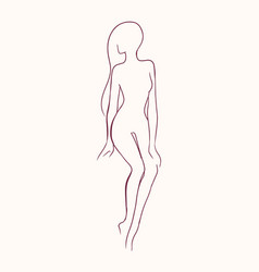 Silhouette of pretty slim nude long-haired woman vector