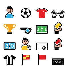 Soccer or football colorful icons set vector image