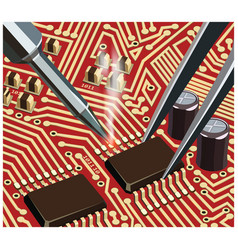 soldering computer chip on red board close up vector image