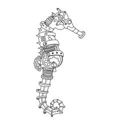 Steampunk style sea horse coloring book vector