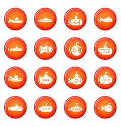 Submarine icons set red vector