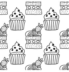 Sweet dessert black and white vector