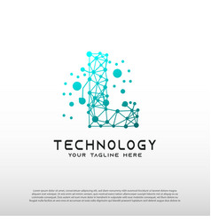 Technology logo with initial l letter network vector