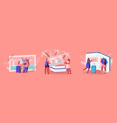 Tiny characters looking traveling pictures in huge vector
