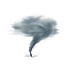 Tornado realistic black on white vector