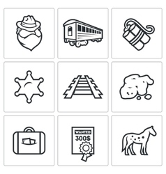 Train robbery in the Wild West icons set vector image