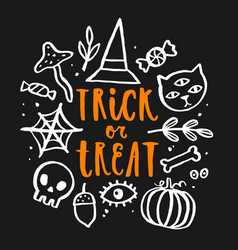 trick or treat hand drawn lettering vector image