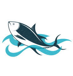 tuna on the waves vector image