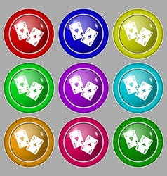 Two Aces icon sign symbol on nine round colourful vector