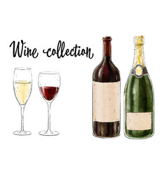 two bottles of wine with two glasses isolated vector image