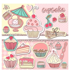 Vintage cupcake vector