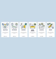 web site onboarding screens hotel service room vector image
