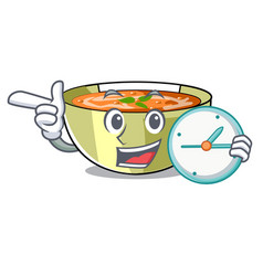 With clock cartoon lentil soup ready to served vector