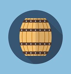 Wooden barrel flat icon vector image vector image
