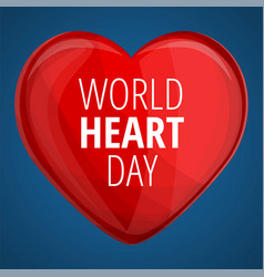 world red heart day concept banner cartoon style vector image