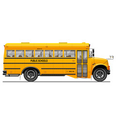 Yellow classic school bus side view american vector