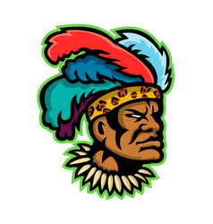 zulu warrior head mascot vector image