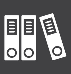 Binders solid icon business and folder vector