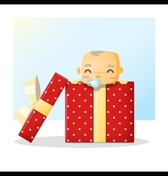 Cute baby inside gift box background vector image vector image