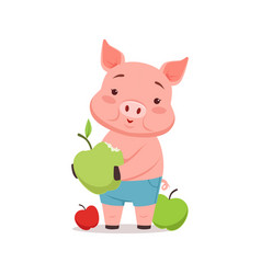 cute pig with apples funny cartoon animal vector image vector image