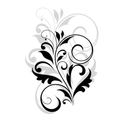 Floral motif in black and grey over white vector image vector image