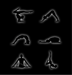 Glowing figures of yoga pose vector image