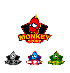 monkey face sport logo template vector image