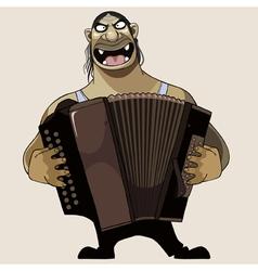 cartoon terrible goblin plays on a bayan vector image
