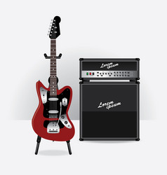 electric guitar with guitar amplifier vector image