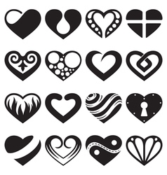 heart icons and signs set vector image vector image