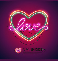 love heart colorful neon sign vector image vector image