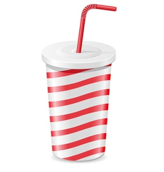 paper cup with soda isolated on white background vector image vector image