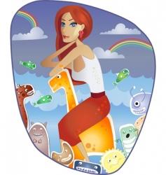 red-haired girl on giraffe vector image