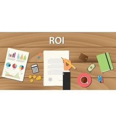 roi return on investment concept with hand work vector image