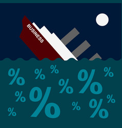 The ship is sinking on the sea of debt and loans vector
